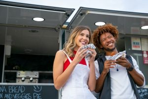couple eating at St. Augustine food truck