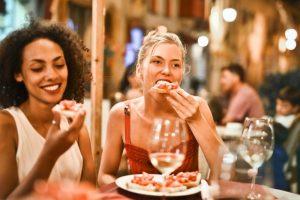 woman eating dinner in st augustine