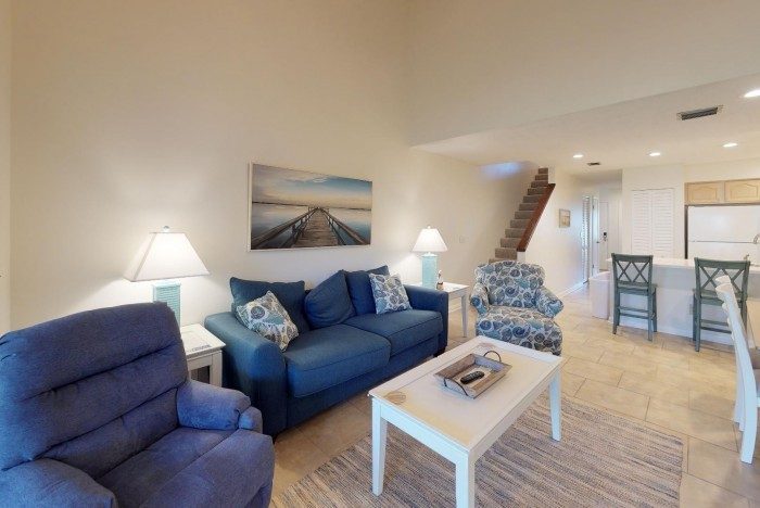 Living and dining area of a St. Augustine condo rental