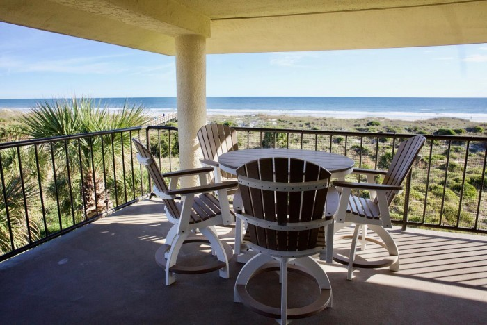 Exterior of condo balcony overlooking the ocean in St. Augustine