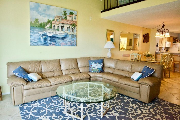 Interior of an open floor plan condo in St. Augustine